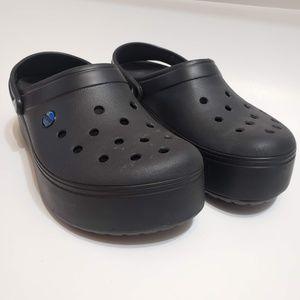 Crocs Black Platform Clog Slide Ons, sz 9